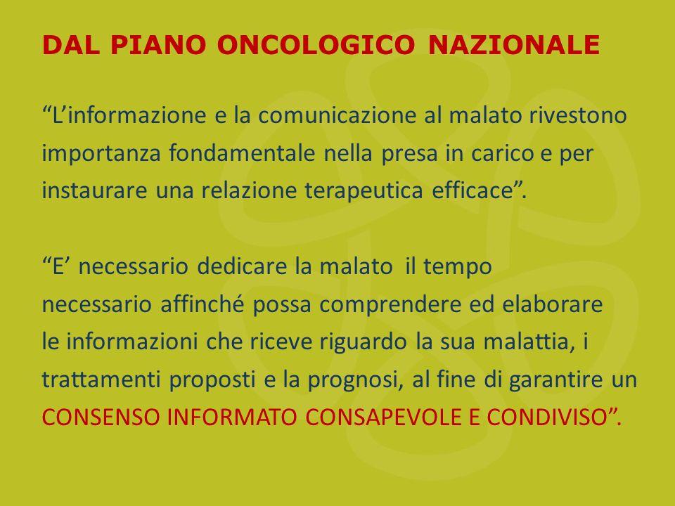 DAL PIANO ONCOLOGICO NAZIONALE Linformazione e la comunicazione al malato rivestono importanza fondamentale nella presa in carico e per instaurare una relazione terapeutica efficace.