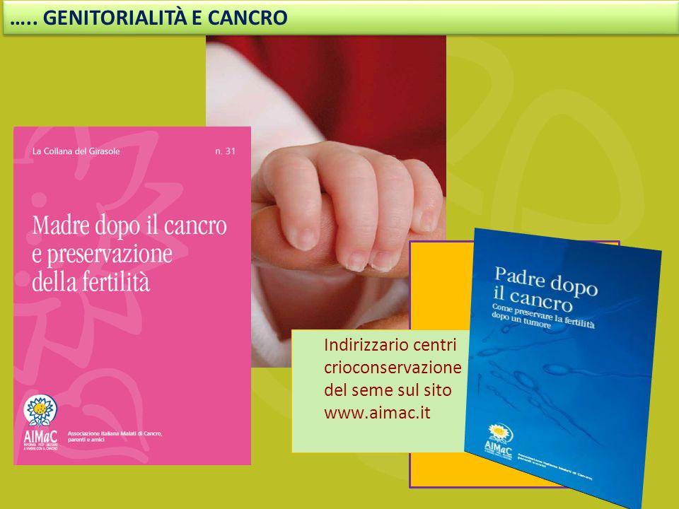 Indirizzario centri crioconservazione del seme sul sito www.aimac.it ….. GENITORIALITÀ E CANCRO