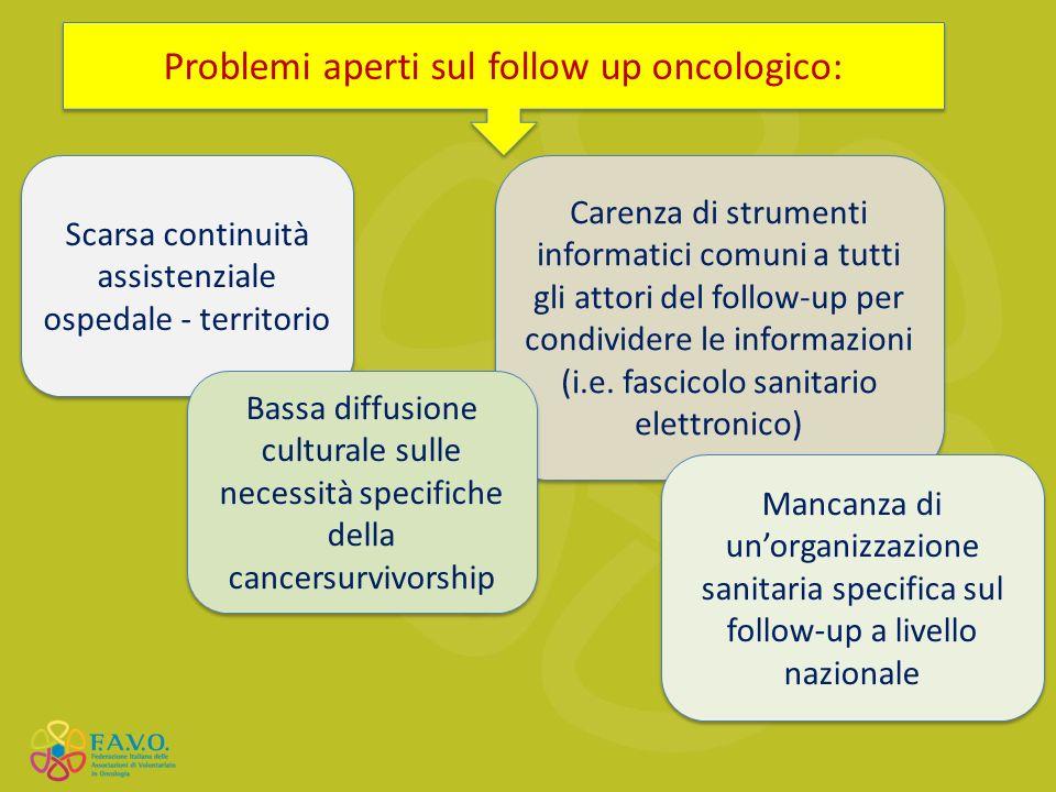 Carenza di strumenti informatici comuni a tutti gli attori del follow-up per condividere le informazioni (i.e. fascicolo sanitario elettronico) Proble