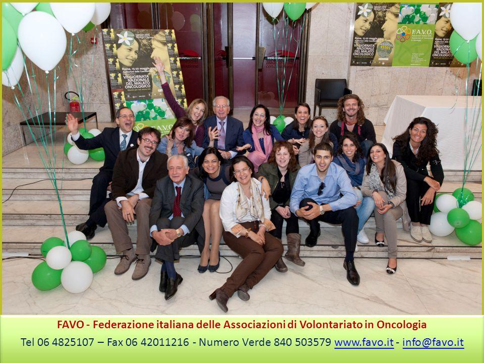 FAVO - Federazione italiana delle Associazioni di Volontariato in Oncologia Tel 06 4825107 – Fax 06 42011216 - Numero Verde 840 503579 www.favo.it - info@favo.itwww.favo.itinfo@favo.it FAVO - Federazione italiana delle Associazioni di Volontariato in Oncologia Tel 06 4825107 – Fax 06 42011216 - Numero Verde 840 503579 www.favo.it - info@favo.itwww.favo.itinfo@favo.it