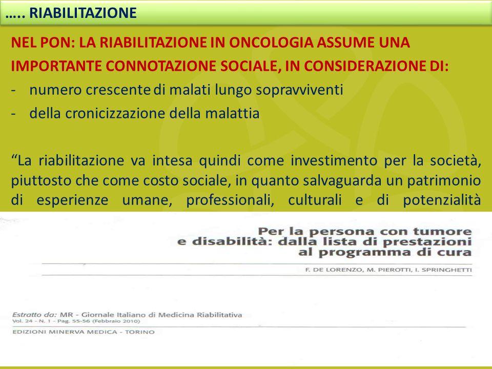 NEL PON: LA RIABILITAZIONE IN ONCOLOGIA ASSUME UNA IMPORTANTE CONNOTAZIONE SOCIALE, IN CONSIDERAZIONE DI: -numero crescente di malati lungo sopravvive