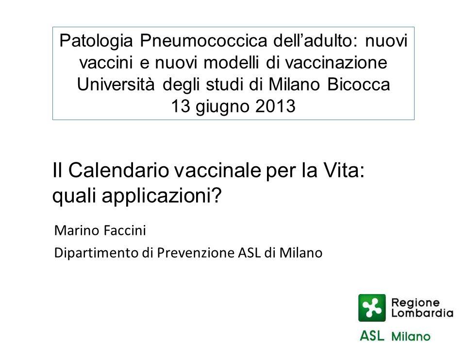 Il Calendario vaccinale per la Vita: quali applicazioni? Patologia Pneumococcica delladulto: nuovi vaccini e nuovi modelli di vaccinazione Università