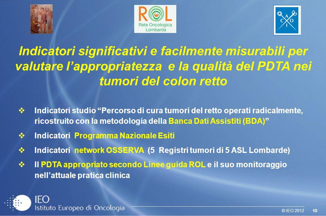 10© IEO 2012 Indicatori studio Percorso di cura tumori del retto operati radicalmente, ricostruito con la metodologia della Banca Dati Assistiti (BDA)