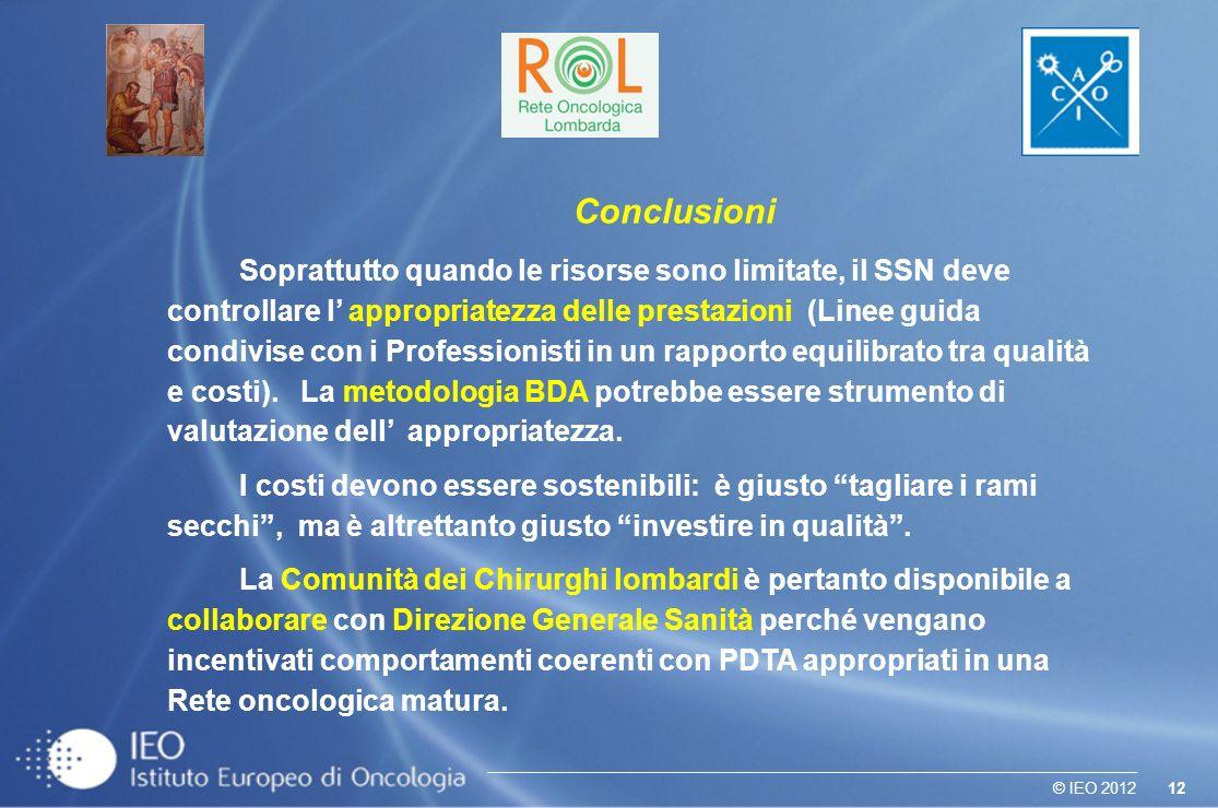 12© IEO 2012 Conclusioni Soprattutto quando le risorse sono limitate, il SSN deve controllare l appropriatezza delle prestazioni (Linee guida condivise con i Professionisti in un rapporto equilibrato tra qualità e costi).