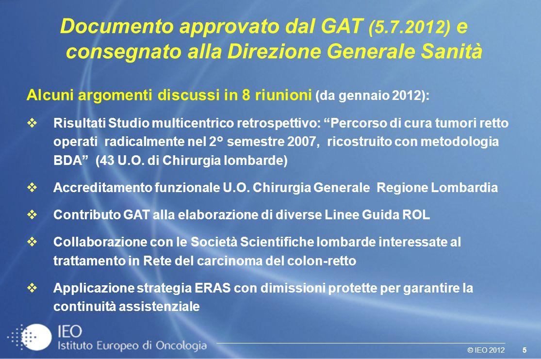 5© IEO 2012 Documento approvato dal GAT (5.7.2012) e consegnato alla Direzione Generale Sanità Alcuni argomenti discussi in 8 riunioni (da gennaio 201