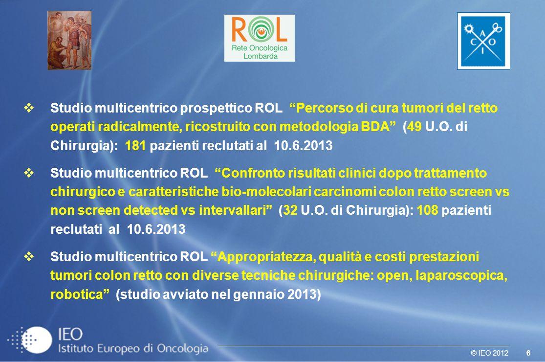 6© IEO 2012 Studio multicentrico prospettico ROL Percorso di cura tumori del retto operati radicalmente, ricostruito con metodologia BDA (49 U.O.