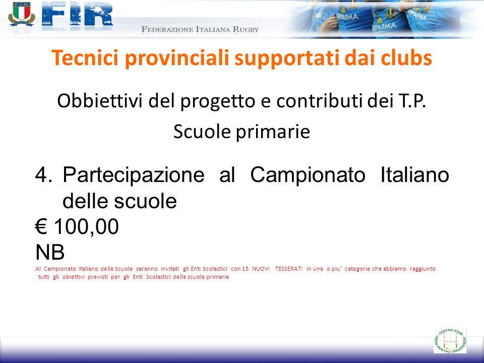 Tecnici provinciali supportati dai clubs Obbiettivi del progetto e contributi dei T.P. Scuole primarie 4.Partecipazione al Campionato Italiano delle s