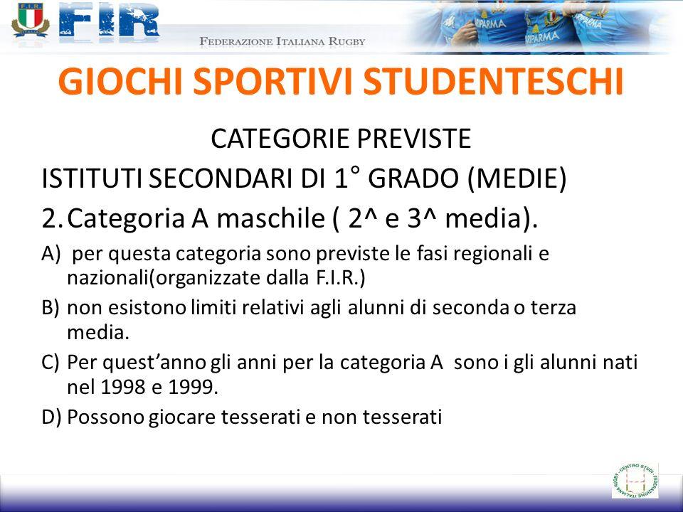 GIOCHI SPORTIVI STUDENTESCHI CATEGORIE PREVISTE ISTITUTI SECONDARI DI 1° GRADO (MEDIE) 2.Categoria A maschile ( 2^ e 3^ media).