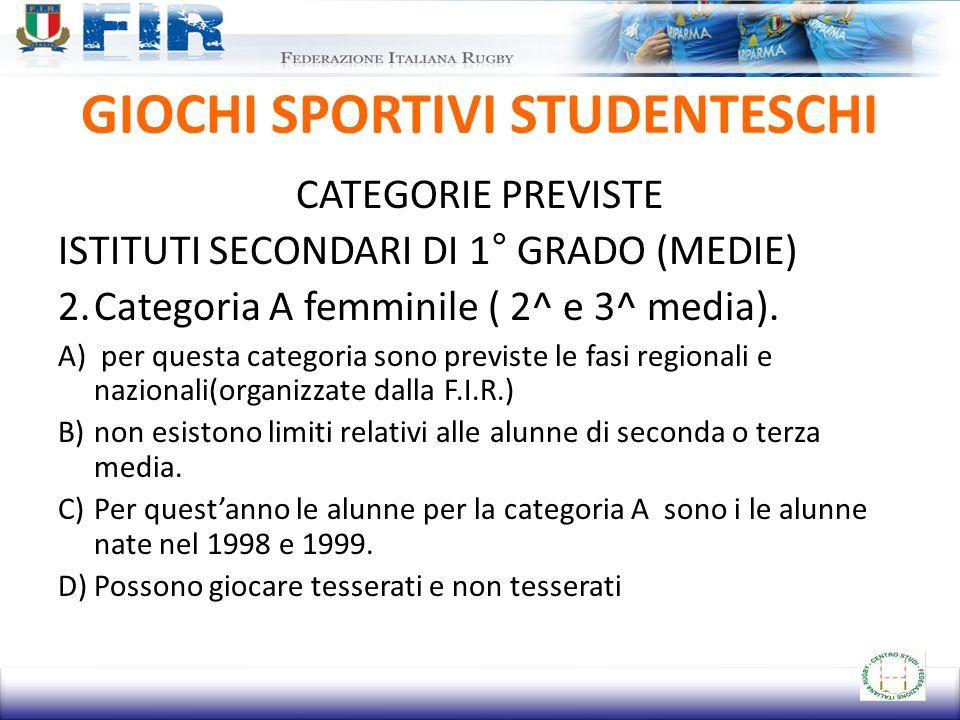 GIOCHI SPORTIVI STUDENTESCHI CATEGORIE PREVISTE ISTITUTI SECONDARI DI 1° GRADO (MEDIE) 2.Categoria A femminile ( 2^ e 3^ media).