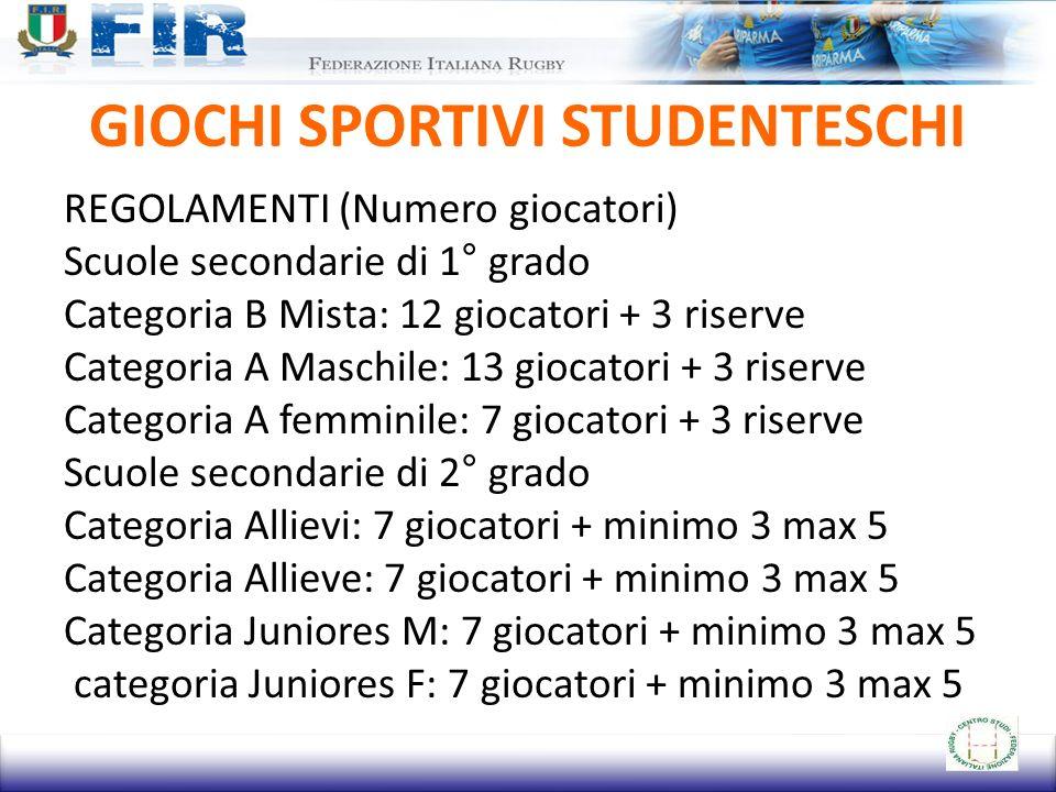 GIOCHI SPORTIVI STUDENTESCHI REGOLAMENTI (Numero giocatori) Scuole secondarie di 1° grado Categoria B Mista: 12 giocatori + 3 riserve Categoria A Masc