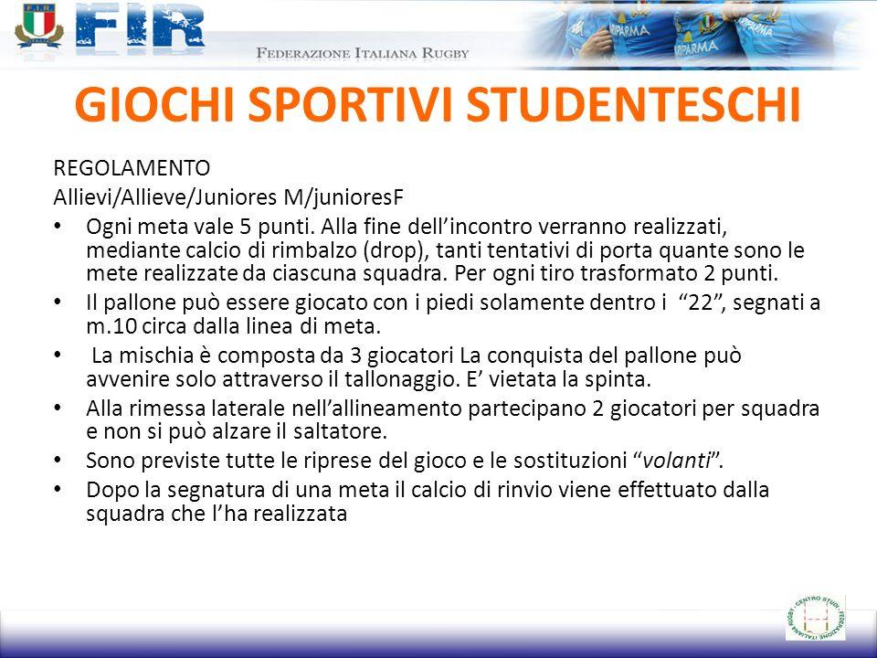 GIOCHI SPORTIVI STUDENTESCHI REGOLAMENTO Allievi/Allieve/Juniores M/junioresF Ogni meta vale 5 punti.