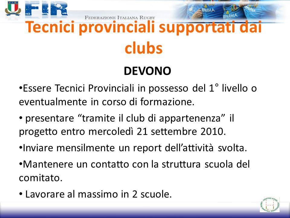 Tecnici provinciali supportati dai clubs DEVONO Essere Tecnici Provinciali in possesso del 1° livello o eventualmente in corso di formazione.