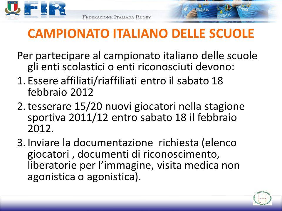 CAMPIONATO ITALIANO DELLE SCUOLE Per partecipare al campionato italiano delle scuole gli enti scolastici o enti riconosciuti devono: 1.Essere affiliat