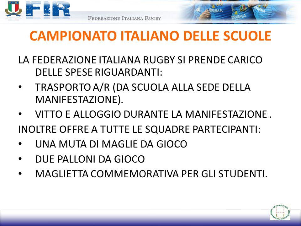 CAMPIONATO ITALIANO DELLE SCUOLE LA FEDERAZIONE ITALIANA RUGBY SI PRENDE CARICO DELLE SPESE RIGUARDANTI: TRASPORTO A/R (DA SCUOLA ALLA SEDE DELLA MANI