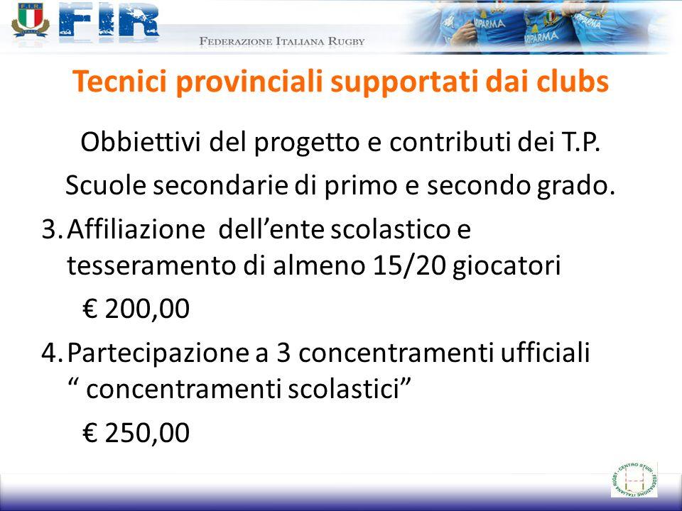 Tecnici provinciali supportati dai clubs Obbiettivi del progetto e contributi dei T.P. Scuole secondarie di primo e secondo grado. 3.Affiliazione dell
