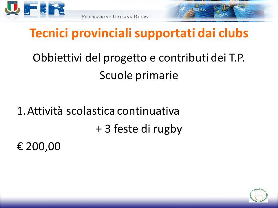 Tecnici provinciali supportati dai clubs Obbiettivi del progetto e contributi dei T.P. Scuole primarie 1.Attività scolastica continuativa + 3 feste di