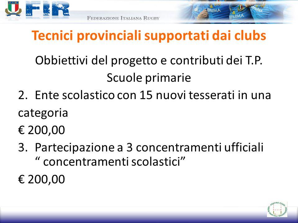 Tecnici provinciali supportati dai clubs Obbiettivi del progetto e contributi dei T.P. Scuole primarie 2.Ente scolastico con 15 nuovi tesserati in una