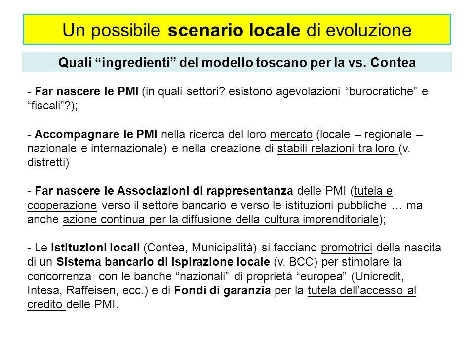 Un possibile scenario locale di evoluzione Quali ingredienti del modello toscano per la vs.