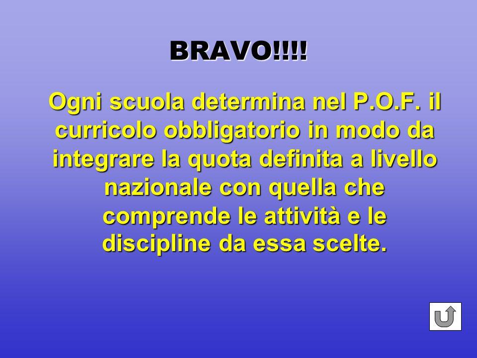 BRAVO!!!! Dal 1-09-2000 va in vigore di fatto lautonomia in tutte le istituzioni scolastiche sostituendosi alle relative sperimentazioni in atto.