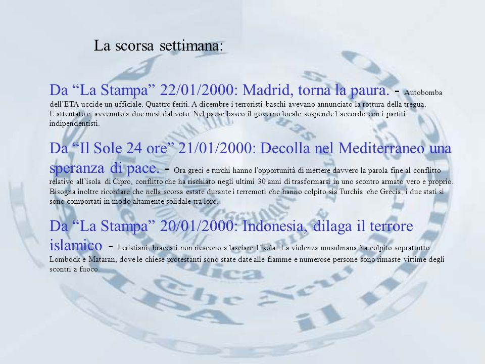La scorsa settimana: Da La Stampa 22/01/2000: Madrid, torna la paura.