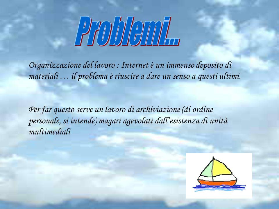 Organizzazione del lavoro : Internet è un immenso deposito di materiali … il problema è riuscire a dare un senso a questi ultimi.