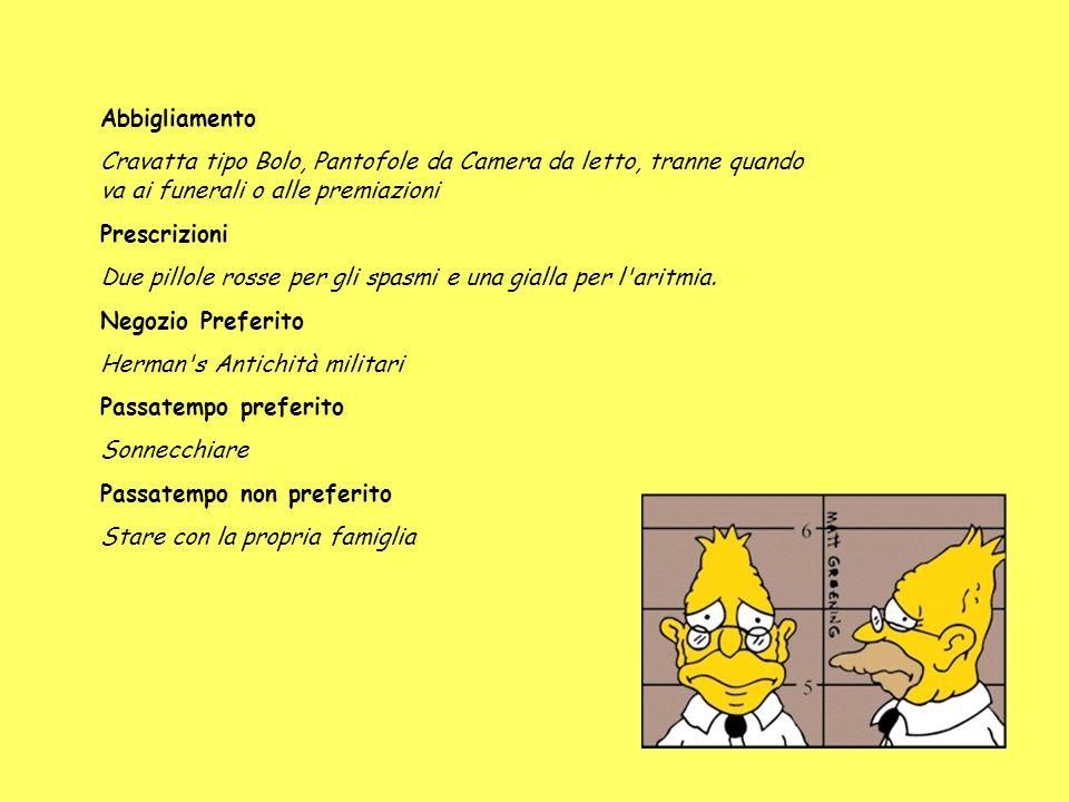 Nome Completo Abraham J. Simpson Soprannome Abe (Abe è uno zio di Matt Groening) Occupazione Sorvegliante in pensione Abitazione Ospizio