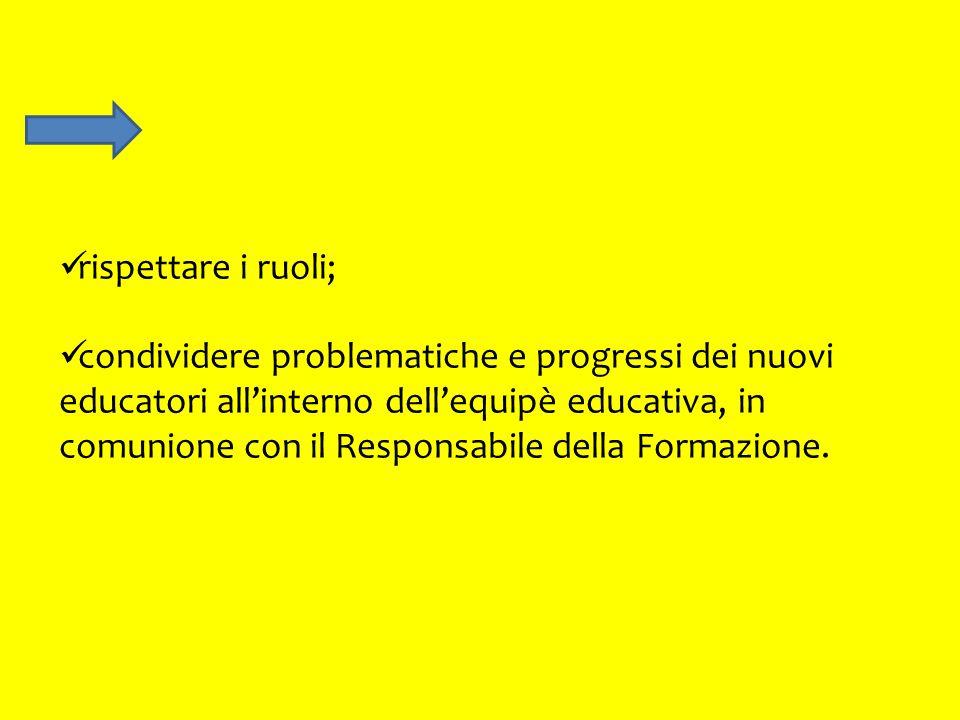 rispettare i ruoli; condividere problematiche e progressi dei nuovi educatori allinterno dellequipè educativa, in comunione con il Responsabile della Formazione.
