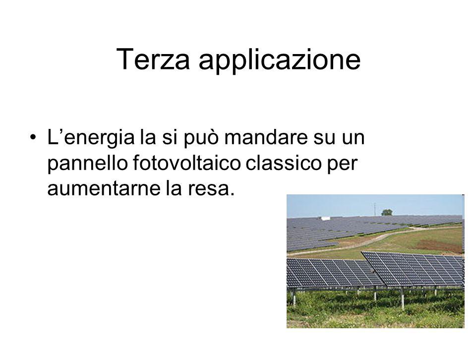 Terza applicazione Lenergia la si può mandare su un pannello fotovoltaico classico per aumentarne la resa.