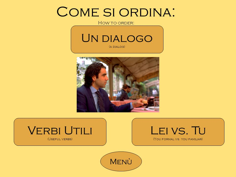 Come si ordina: How to order: Un dialogo (a dialog) Verbi Utili (Useful verbs) Lei vs. Tu (You formal vs. you familiar) Menù