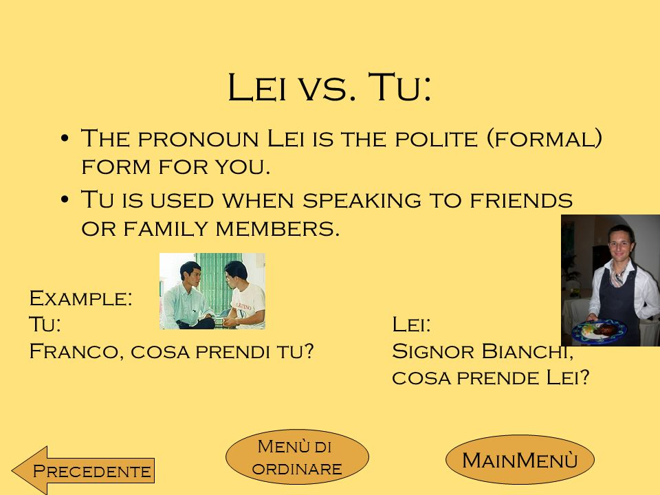 Lei vs.Tu: The pronoun Lei is the polite (formal) form for you.