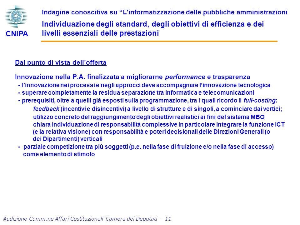Audizione Comm.ne Affari Costituzionali Camera dei Deputati - 11 Dal punto di vista dellofferta Innovazione nella P.A.