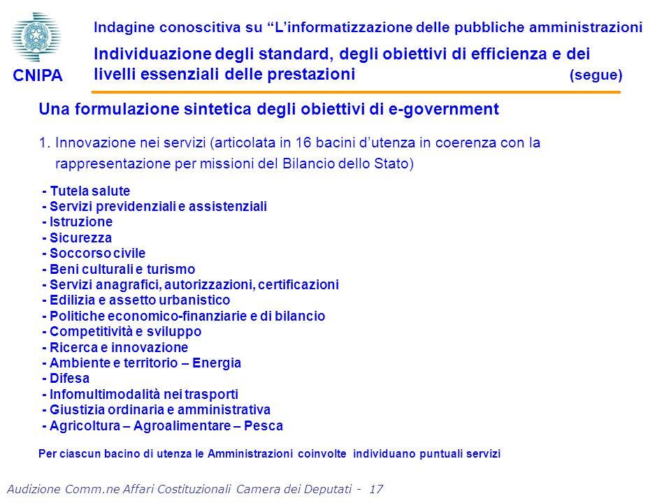 Una formulazione sintetica degli obiettivi di e-government 1.
