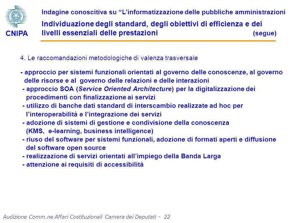 4. Le raccomandazioni metodologiche di valenza trasversale - approccio per sistemi funzionali orientati al governo delle conoscenze, al governo delle
