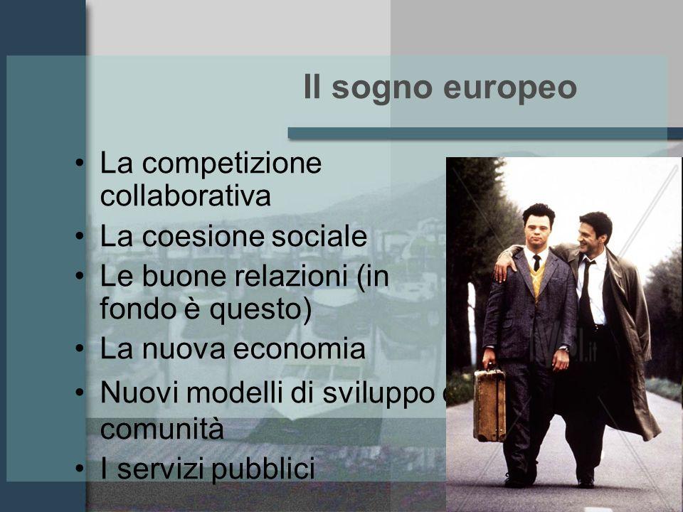 Il sogno europeo La competizione collaborativa La coesione sociale Le buone relazioni (in fondo è questo) La nuova economia Nuovi modelli di sviluppo di comunità I servizi pubblici
