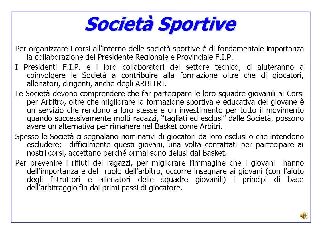 Società Sportive Per organizzare i corsi allinterno delle società sportive è di fondamentale importanza la collaborazione del Presidente Regionale e P