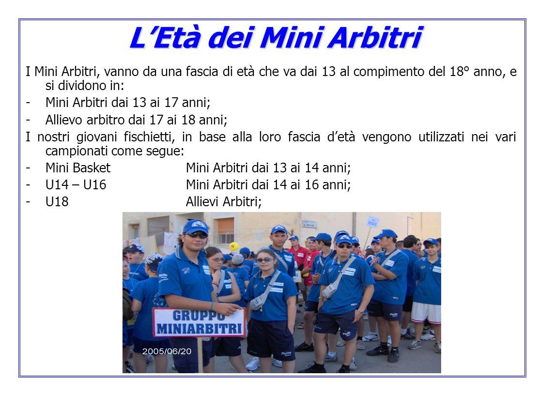 LEtà dei Mini Arbitri I Mini Arbitri, vanno da una fascia di età che va dai 13 al compimento del 18° anno, e si dividono in: -Mini Arbitri dai 13 ai 17 anni; -Allievo arbitro dai 17 ai 18 anni; I nostri giovani fischietti, in base alla loro fascia detà vengono utilizzati nei vari campionati come segue: -Mini Basket Mini Arbitri dai 13 ai 14 anni; -U14 – U16 Mini Arbitri dai 14 ai 16 anni; -U18Allievi Arbitri;