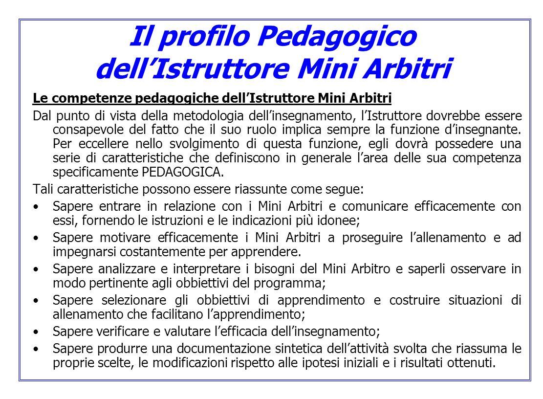 Il profilo Pedagogico dellIstruttore Mini Arbitri Le competenze pedagogiche dellIstruttore Mini Arbitri Dal punto di vista della metodologia dellinseg