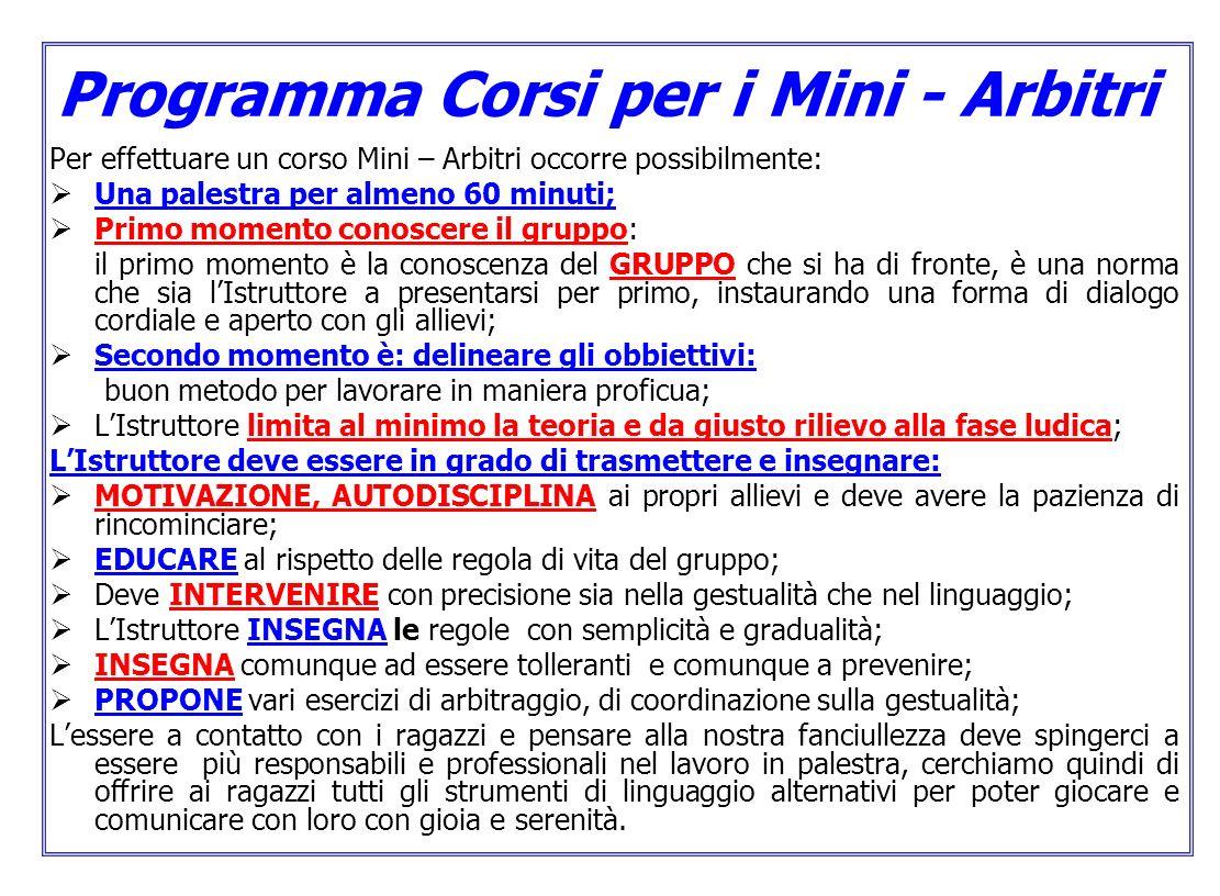 Programma Corsi per i Mini - Arbitri Per effettuare un corso Mini – Arbitri occorre possibilmente: Una palestra per almeno 60 minuti; Primo momento co