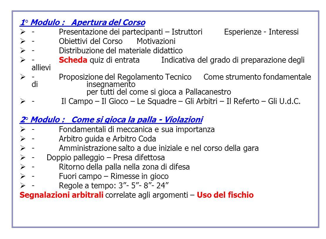 1° Modulo : Apertura del Corso - Presentazione dei partecipanti – Istruttori Esperienze - Interessi - Obiettivi del Corso Motivazioni - Distribuzione