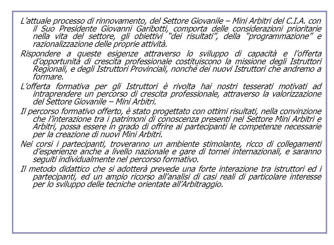 Lattuale processo di rinnovamento, del Settore Giovanile – Mini Arbitri del C.I.A. con il Suo Presidente Giovanni Garibotti, comporta delle consideraz