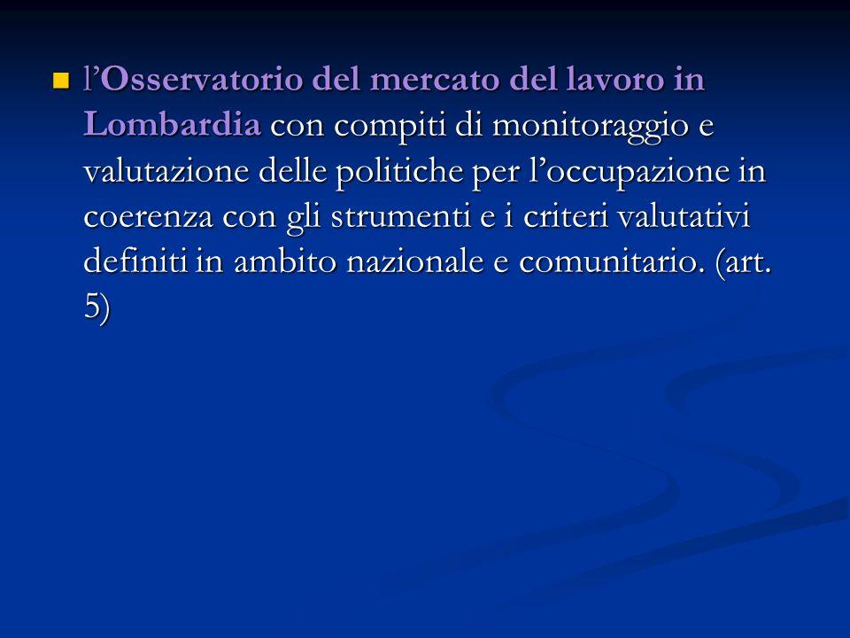 lOsservatorio del mercato del lavoro in Lombardia con compiti di monitoraggio e valutazione delle politiche per loccupazione in coerenza con gli strumenti e i criteri valutativi definiti in ambito nazionale e comunitario.