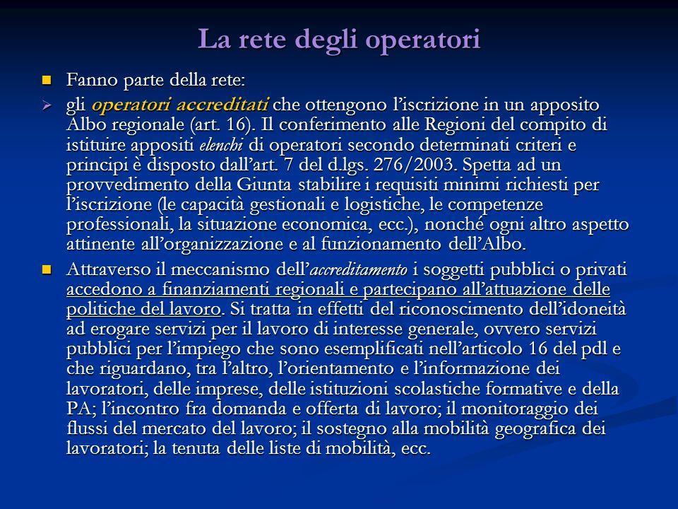 La rete degli operatori Fanno parte della rete: Fanno parte della rete: gli operatori accreditati che ottengono liscrizione in un apposito Albo regionale (art.