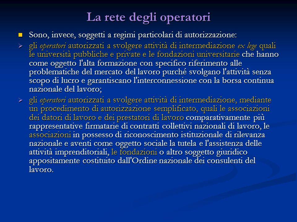 La rete degli operatori Sono, invece, soggetti a regimi particolari di autorizzazione: Sono, invece, soggetti a regimi particolari di autorizzazione: