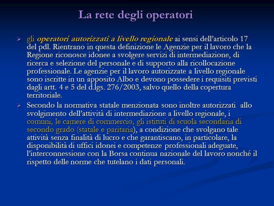 La rete degli operatori gli operatori autorizzati a livello regionale ai sensi dellarticolo 17 del pdl. Rientrano in questa definizione le Agenzie per