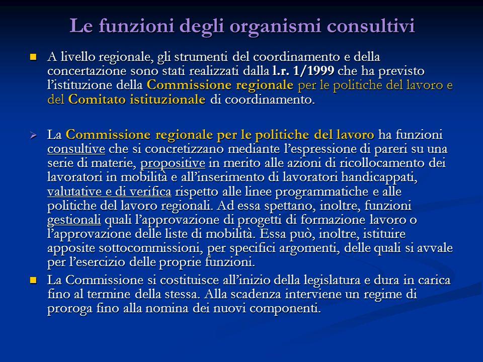 Le funzioni degli organismi consultivi A livello regionale, gli strumenti del coordinamento e della concertazione sono stati realizzati dalla l.r. 1/1