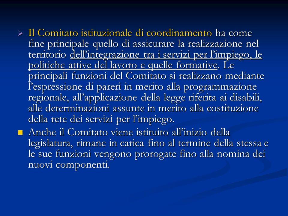 Il Comitato istituzionale di coordinamento ha come fine principale quello di assicurare la realizzazione nel territorio dellintegrazione tra i servizi