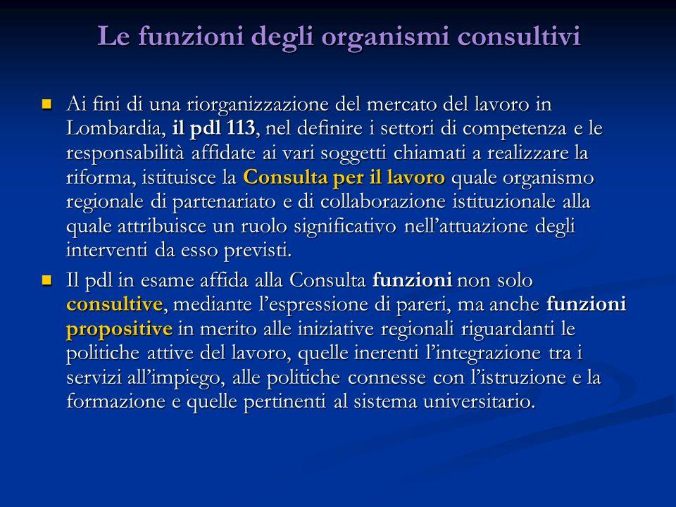 Le funzioni degli organismi consultivi Ai fini di una riorganizzazione del mercato del lavoro in Lombardia, il pdl 113, nel definire i settori di comp