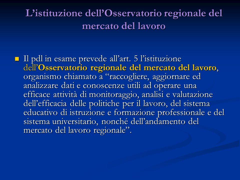 Listituzione dellOsservatorio regionale del mercato del lavoro Il pdl in esame prevede allart. 5 listituzione dellOsservatorio regionale del mercato d
