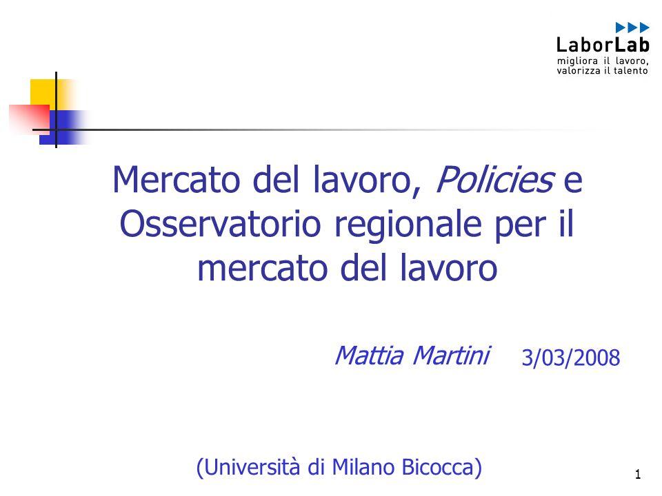 1 Mercato del lavoro, Policies e Osservatorio regionale per il mercato del lavoro (Università di Milano Bicocca) Mattia Martini 3/03/2008