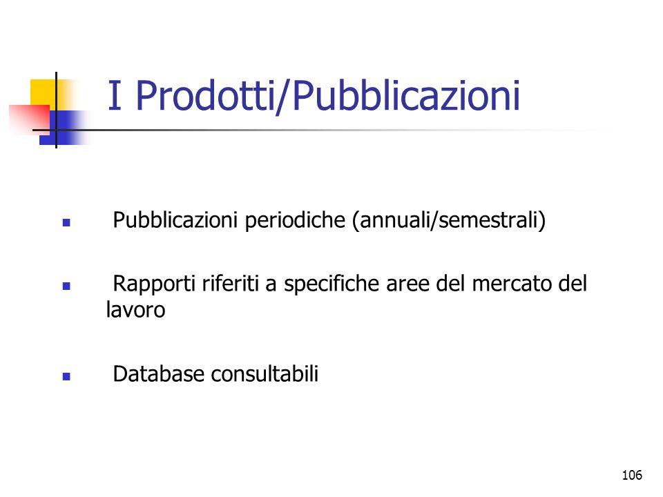 106 I Prodotti/Pubblicazioni Pubblicazioni periodiche (annuali/semestrali) Rapporti riferiti a specifiche aree del mercato del lavoro Database consult